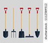 set pitchfork shovel spade rake ...   Shutterstock .eps vector #1112589512
