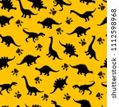 cute kids dinosaurs pattern for ... | Shutterstock . vector #1112598968