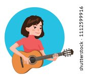 musician playing guitar. girl...   Shutterstock .eps vector #1112599916