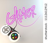 """gamer"" word written with game... | Shutterstock . vector #1112612912"