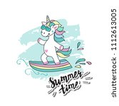 a cute funny unicorn on the... | Shutterstock .eps vector #1112613005