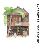 wooden house and palm tree...   Shutterstock . vector #1112613596
