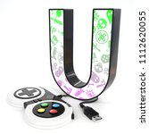 green and purple video game... | Shutterstock . vector #1112620055
