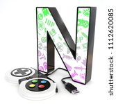 green and purple video game... | Shutterstock . vector #1112620085