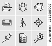 set of 9 simple editable icons...   Shutterstock .eps vector #1112685002