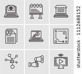 set of 9 simple editable icons... | Shutterstock .eps vector #1112688152