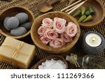 spa settings on bamboo or... | Shutterstock . vector #111269366