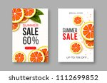 summer sale banners with sliced ... | Shutterstock .eps vector #1112699852
