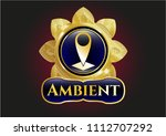 gold badge with gold shiny... | Shutterstock .eps vector #1112707292