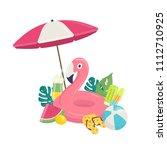 summer beach vector background... | Shutterstock .eps vector #1112710925