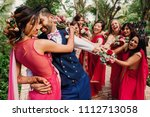 funny scenes with bridesmaids... | Shutterstock . vector #1112713058