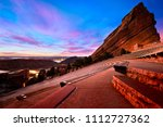 Red Rocks Park at sunrise, near Denver Colorado - stock photo