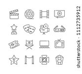 set of cinema icons  line style.... | Shutterstock .eps vector #1112735912