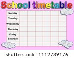 school timetable  a weekly... | Shutterstock .eps vector #1112739176