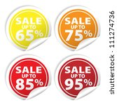 sale tags with sale up to 65  ... | Shutterstock . vector #111274736