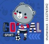 cute teddy bear soccer stepping ... | Shutterstock .eps vector #1112765342