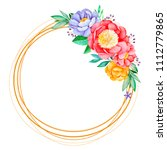 lovely wreath with peony rose... | Shutterstock . vector #1112779865