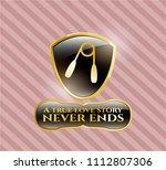 gold emblem with hand gripper ... | Shutterstock .eps vector #1112807306