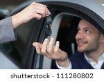 man receiving car keys in his... | Shutterstock . vector #111280802