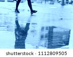 city walking or rainy day. go... | Shutterstock . vector #1112809505