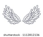 a pair of angel wings  wide... | Shutterstock .eps vector #1112812136