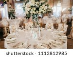 wedding restaurant in white... | Shutterstock . vector #1112812985