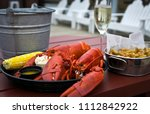 boiled twin lobster with drawn... | Shutterstock . vector #1112842922