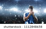 soccer player celebrates a... | Shutterstock . vector #1112848658