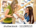 two young student girls on high ... | Shutterstock . vector #111285215