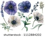 watercolor white and blue... | Shutterstock . vector #1112884202