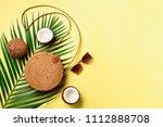 round rattan bag  coconut ...   Shutterstock . vector #1112888708