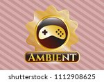 gold shiny emblem with video... | Shutterstock .eps vector #1112908625
