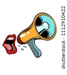 mouth screaming into a...   Shutterstock .eps vector #1112910422