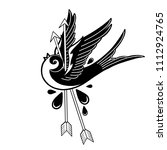 flying graphic bird pierced by... | Shutterstock .eps vector #1112924765