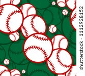 seamless pattern with baseball... | Shutterstock .eps vector #1112928152
