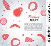 background with meat products.... | Shutterstock .eps vector #1112929856