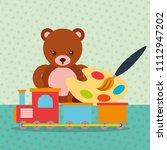 bear teddy train wagon paint...   Shutterstock .eps vector #1112947202