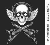 cool rock star skull wearing...   Shutterstock .eps vector #1112950742