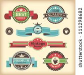 vector set of retro labels | Shutterstock .eps vector #111298682
