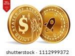 stellar. dollar coin. 3d... | Shutterstock .eps vector #1112999372