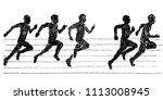 illustration of sprinter drawn... | Shutterstock .eps vector #1113008945