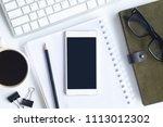 white desk office with laptop ... | Shutterstock . vector #1113012302