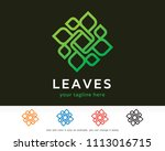 abstract leaves monogram  logo... | Shutterstock .eps vector #1113016715