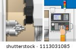 cnc lathe machine mechanism...   Shutterstock .eps vector #1113031085
