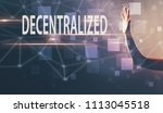 decentralized with a hand in a... | Shutterstock . vector #1113045518