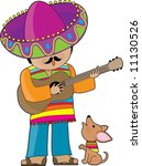 a mexican man playing guitar...   Shutterstock .eps vector #11130526