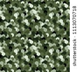 seamless camouflage in green.... | Shutterstock .eps vector #1113070718