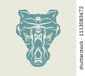 ornamental tattoo wolf head.... | Shutterstock .eps vector #1113083672