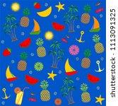 summer seamless pattern. blue... | Shutterstock .eps vector #1113091325