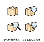 parcel delivery icons. fast... | Shutterstock .eps vector #1113098705
